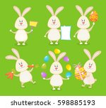 set of cute easter rabbits with ... | Shutterstock .eps vector #598885193