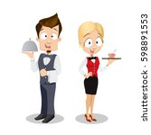 vector illustration of waiter... | Shutterstock .eps vector #598891553