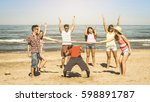 multiracial happy friends group ... | Shutterstock . vector #598891787