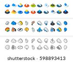 set of icons in different style ... | Shutterstock .eps vector #598893413