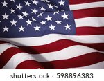 closeup of rippled american flag | Shutterstock . vector #598896383