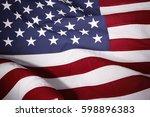 closeup of rippled american flag | Shutterstock . vector #598896383