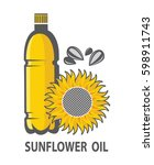 illustration with sunflower oil ... | Shutterstock .eps vector #598911743