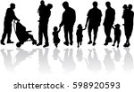 silhouette father of the child. | Shutterstock .eps vector #598920593