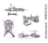 set of cityscape  vector... | Shutterstock .eps vector #598921913
