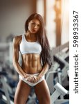 athletic beautiful brunette... | Shutterstock . vector #598933367
