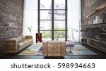 living room loft in industrial... | Shutterstock . vector #598934663