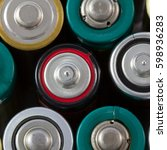 Small photo of Close-up top view of alkaline AA batteries alluding concepts of power, energy and recycling