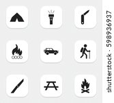 set of 9 editable camping icons.... | Shutterstock .eps vector #598936937