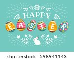 happy easter greeting card.... | Shutterstock .eps vector #598941143