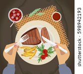 person is eating grilled steak... | Shutterstock .eps vector #598942193