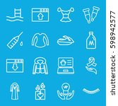 drawn icons set. set of 16...   Shutterstock .eps vector #598942577