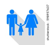 man  woman and kid sign. vector.... | Shutterstock .eps vector #598957637