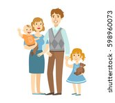 father  mother  baby boy and... | Shutterstock .eps vector #598960073