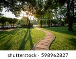 beautiful urban city park at... | Shutterstock . vector #598962827