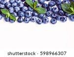 fresh sweet blueberry fruit and ... | Shutterstock . vector #598966307
