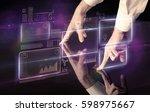 male hands touching interactive ... | Shutterstock . vector #598975667