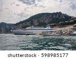 passenger ship in port on capri ... | Shutterstock . vector #598985177