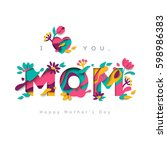 happy mothers day greeting card ... | Shutterstock .eps vector #598986383