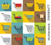 shopping cart icons set. flat... | Shutterstock .eps vector #598989677