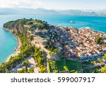 view from above on nafplio city ... | Shutterstock . vector #599007917