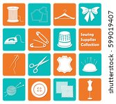 set of sewing equipment icons | Shutterstock . vector #599019407