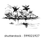 tropical beach with palm trees... | Shutterstock .eps vector #599021927