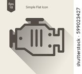 engine flat icon. simple sign... | Shutterstock .eps vector #599023427