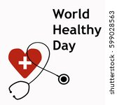 world healthy day stethoscope | Shutterstock .eps vector #599028563