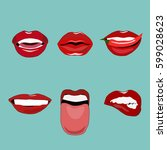 set of red woman's lips | Shutterstock .eps vector #599028623