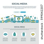 social media concept for web... | Shutterstock .eps vector #599042207