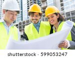 architects and civil engineers... | Shutterstock . vector #599053247