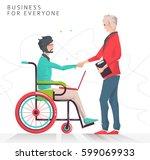 concept of partnership between... | Shutterstock .eps vector #599069933