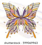 patterned butterfly on the... | Shutterstock .eps vector #599069963