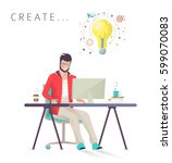 man works on computer. designer.... | Shutterstock .eps vector #599070083