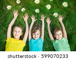 group of happy children playing ... | Shutterstock . vector #599070233