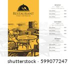 restaurant menu design. vector... | Shutterstock .eps vector #599077247