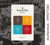 restaurant menu design. vector... | Shutterstock .eps vector #599077283