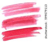 set of red brush strokes... | Shutterstock . vector #599079113