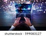 speed global internet... | Shutterstock . vector #599083127