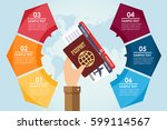hand holding passport and... | Shutterstock .eps vector #599114567