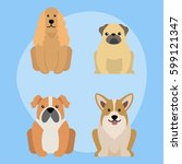 funny cartoon dog character... | Shutterstock .eps vector #599121347