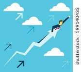 flight. businessman fly in an... | Shutterstock .eps vector #599140433