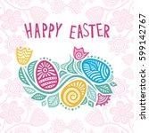 happy easter card. vector... | Shutterstock .eps vector #599142767