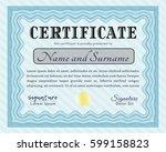 light blue sample certificate....   Shutterstock .eps vector #599158823