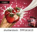 strawberry flavor ice cream ad  ...   Shutterstock .eps vector #599161613