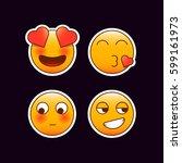 set of romantic emoji stickers. ... | Shutterstock .eps vector #599161973