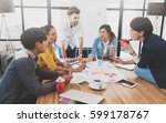 group of five creative worker... | Shutterstock . vector #599178767