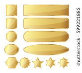 set of 13 glossy golden buttons ... | Shutterstock .eps vector #599221883