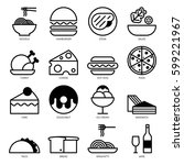 food line icons set including... | Shutterstock .eps vector #599221967